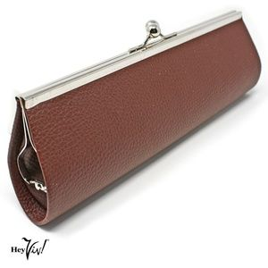 """Brown Clutch Purse 10"""" Long - Classic Retro Style"""